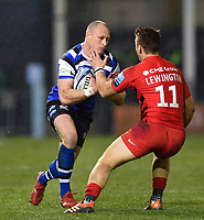 Jack Wilson of Bath Rugby faces off against Alex Lewington of Saracens. Gallagher Premiership match, between Bath Rugby and Saracens on March 8, 2019 at the Recreation Ground in Bath, England. Photo by: Patrick Khachfe / Onside Images