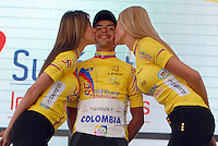 MADRID -IBAGUE -COLOMBIA- 10-AGOSTO- Miguel Angel Rubiano Chavez , lider de la Vuelta 2014. Vuelta a Colombia  ,etapa recorrida por los ciclistas entre Madrid e Ibague ganada por el español Oscar Sevilla . / Miguel Angel Rubiano Chavez, leader of the Vuelta  a Colombia, step by cyclists traveled between Madrid and Ibague won by Spanish Oscar Sevilla . Photo: VizzorImage / Jose Miguel Palencia / Stringer