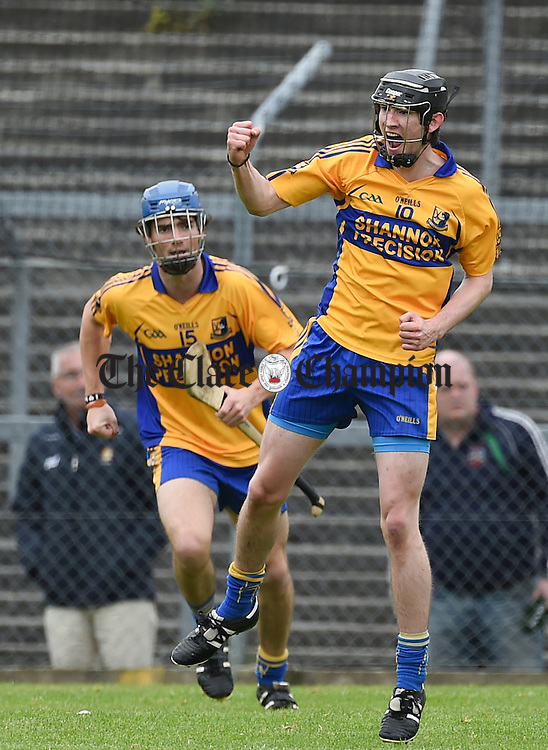 Alan Mulready of Sixmilebridge celebrates a score against Cratloe during their game in Cusack Park. Photograph by John Kelly.