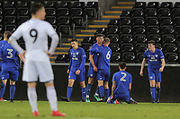 Pictured: Cardiff celebrate their equaliser. Tuesday 01 May 2018<br /> Re: Swansea U19 v Cardiff U19 FAW Youth Cup Final at the Liberty Stadium, Swansea, Wales, UK