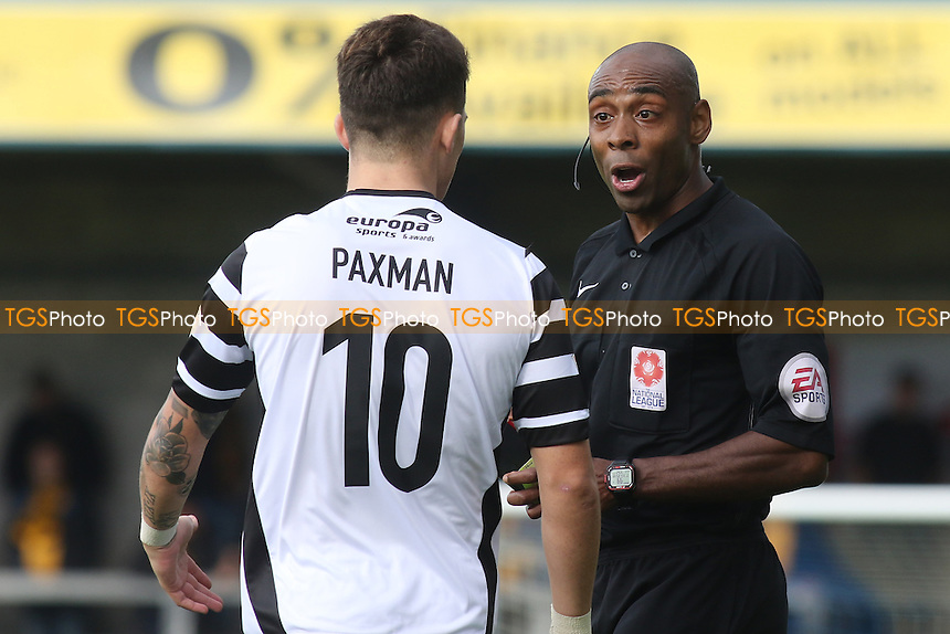 Referee Samuel Allison, has a word with Maidstone's Jack Paxman prior to showing him a yellow card during Torquay United vs Maidstone United , Vanarama National League Football at Plainmoor on 24th September 2016