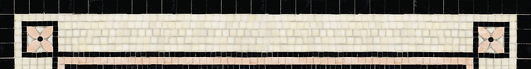 "5 3/8"" Cape Charles border, a hand-cut stone mosaic, shown in polished Heavenly Cream, Rosa Portagallo, and Nero Marquina."