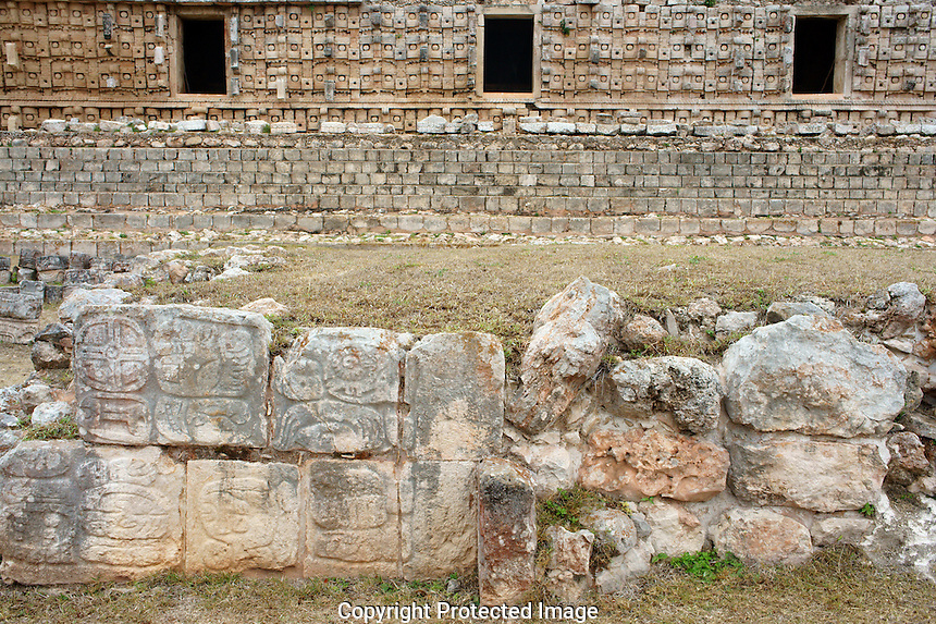 The Altar de  los Glifos or Altar of the Glyphs with Codz Poop in background, Kabah, Yucatan, Mexico