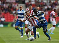 Queens Park Rangers' Bright Osayi-Samuel and Stoke City's Joe Allen <br /> <br /> Photographer Stephen White/CameraSport<br /> <br /> The EFL Sky Bet Championship - Stoke City v Queens Park Rangers - Saturday 3rd August 2019 - bet365 Stadium - Stoke-on-Trent<br /> <br /> World Copyright © 2019 CameraSport. All rights reserved. 43 Linden Ave. Countesthorpe. Leicester. England. LE8 5PG - Tel: +44 (0) 116 277 4147 - admin@camerasport.com - www.camerasport.com