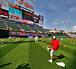 "6 September 2009: Cleveland Indians' utilityman Jamey Carroll plays kickball with kids in the ""Kick-It"" program designed to unite communities in the fight against pediatric cancer. The activity took place after a game against the Minnesota Twins at Progressive Field in Cleveland, Ohio. The Indians defeated the Twins 3-1 to take the rubber match of their three-game weekend series. Mandatory Credit: Ed Wolfstein Photo"