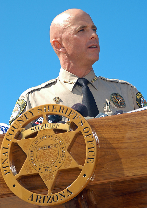 "AJ Alexander - Pinal County Sheriff Paul Babeu joined other County Sheriffs at the Arizona State Capitol for a press conference. The sheriffs said they want Attorney General Eric Holder to be held accountable for the lost law enforcement lives in Arizona and Mexico. They demanded the truth from the federal government about operation ""Fast and Furious."" on Friday October 7, 2011 in the morning in Phoenix, AZ..Photo by AJ Alexander..."