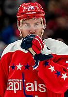 WASHINGTON, DC - JANUARY 31: Travis Boyd #72 of the Washington Capitals waiting for a face off during a game between New York Islanders and Washington Capitals at Capital One Arena on January 31, 2020 in Washington, DC.