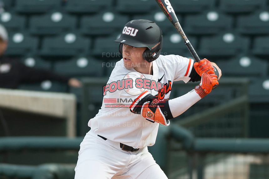 Oregon State Beavers right fielder Tyler Malone (7) at bat during a game against the New Mexico Lobos on February 15, 2019 at Surprise Stadium in Surprise, Arizona. Oregon State defeated New Mexico 6-5. (Zachary Lucy/Four Seam Images)