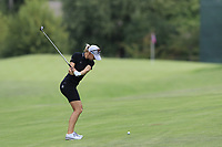 Madelene Sagstrom (SWE) plays her 2nd shot on the 13th hole during Thursday's Round 1 of The Evian Championship 2018, held at the Evian Resort Golf Club, Evian-les-Bains, France. 13th September 2018.<br /> Picture: Eoin Clarke | Golffile<br /> <br /> <br /> All photos usage must carry mandatory copyright credit (&copy; Golffile | Eoin Clarke)