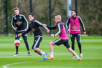 Wednesday  27 April 2016<br /> Pictured: Jack Cork ( with ball ) in action during training <br /> Re: Swansea City Training Session at the Fairwood Ground, Swansea, Wales, UK