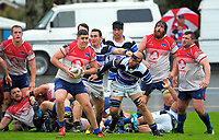 Trent Reti looks to pass during the Mitre 10 Heartland Championship rugby union match between Horowhenua Kapiti and Wanganui at Levin Domain in Levin, New Zealand on Saturday, 7 October 2017. Photo: Dave Lintott / lintottphoto.co.nz