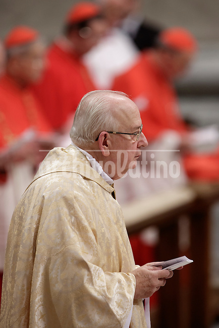 Vatican Governorate Secretary General, Fernando Vergez Alzaga of Spain stands during his Episcopal Ordination conferred by the pope during a ceremony in St. Peter's Basilica at the Vatican on November 15, 2013