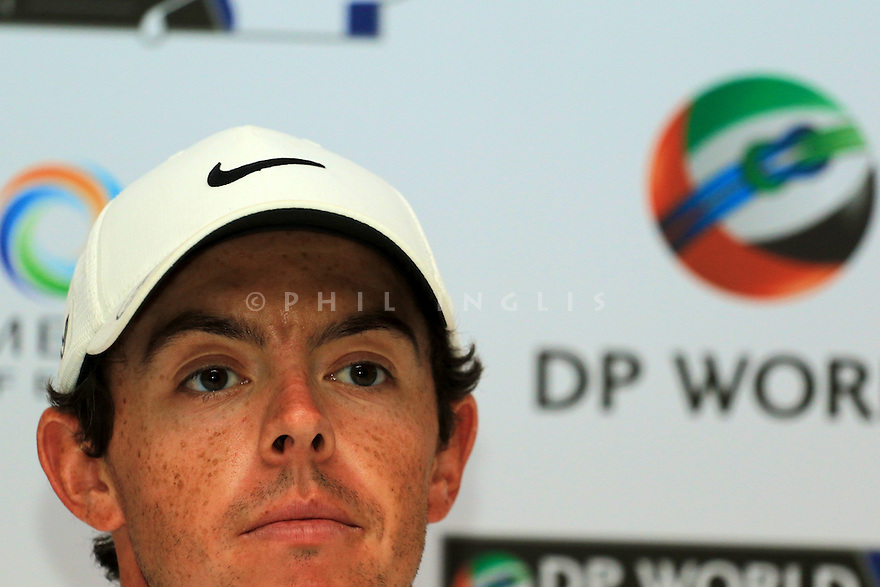 Rory McIlroy (IRE) in media interview during the final round of the DP World Golf Championship played at the Earth Course, Jumeira Golf Estates, Dubai 19-22 November 2015. (Picture Credit / Phil Inglis )
