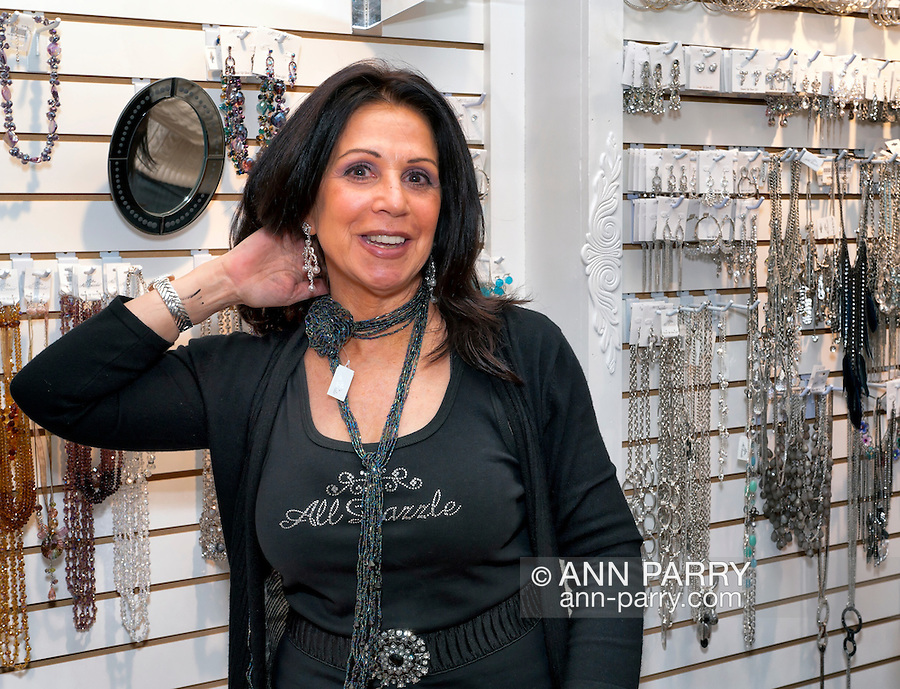 November 6, 2011 - Merrick, New York, U.S. - Beaded earrings and lariat necklace at All Dazzle women's fashion and accessories boutique.