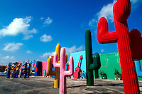 Colorful cactus artwork outside of Cancun, Mexico