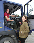 30/8/2014   Alison Hunt, manager, Cashel Mart with C.J. O'Halloran who just arrived at the mart with cattle.<br /> Picture: Liam Burke/Press 22