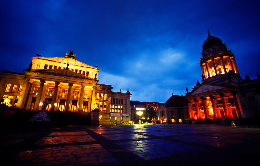 Gendarmenmarkt (Schauspielhaus on left and Franzosischerdom on right),.Berlin, Germany