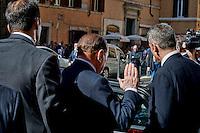 Roma 2 Ottobre 2013<br /> L'ex presidente del Consiglio e Senatore Silvio Berlusconi , lascia il Senato dopo il voto di fiducia<br /> Former Italian Prime Minister and Senator Silvio Berlusconi leaves  the Upper House after  the confidence vote