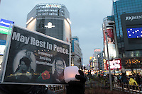 People gather in silent vigil to honour hostages, Kenji Goto and Haruna Yukawa, who were murdered by ISIS terrorists in Syria in January. Shibuya, Tokyo, Japan Sunday February 8h 2015. Over 100 people gathered in Shibuya's famous Hachiko square at 5pm to hold a silent prayer vigil for the Japanese hostages and Jordan pilot. The vigil ended at 7:30pm with a small candle-lit shrine. Friends of the hostages were in the vigil and promised that all flowers and messages would be delivered to relatives.
