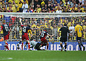 Ryan Clarke of Oxford United drops the ball into his net for York's goal during the Blue Square Premier play-off final between Oxford United and York City at Wembley Stadium, London on 16th May,2010.© Kevin Coleman 2010