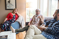 "SEATTLE, WA-APRIL 17, 2017: Amanda Saab, along with her husband Hussein Saab, host a ""dinner with your Muslim neighbor"" at the home of Stefanie and Nason (cq) Fox in Seattle, WA on a return trip April 17th 2017. The couple now live in Detroit. The guests are <br /> Anjana Agarwal (black top), Patricia Rangel (black top with pattern), and Greg and Charissa (white top) Pomrehn.<br /> <br /> (Photo by Meryl Schenker/For The Washington Post)"