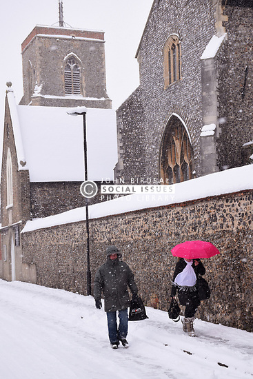 Snow near the Cathedral, Bishopgate, Norwich Feb 2018 UK