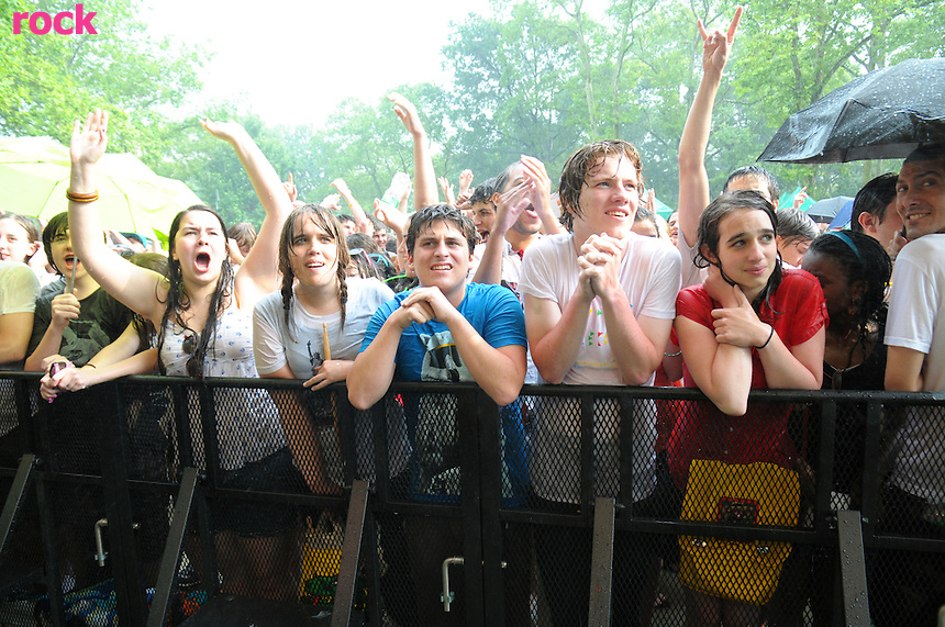 Vampire Weekend Fans caught in a down pour during Summer Stage Concert in Central Park. (June 14,2008)