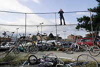 A spectator watches events during Bike Kill 2006, an annual bicycle block party and day of mayhem, in Brooklyn, New York City, USA, 28 October 2006.<br />