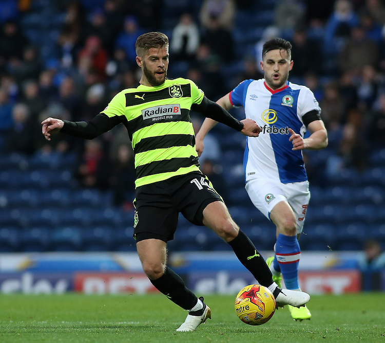 Blackburn Rovers' Craig Conway chases down Huddersfield Town's Martin Cranie<br /> <br /> Photographer David Shipman/CameraSport<br /> <br /> The EFL Sky Bet Championship - Blackburn Rovers v Huddersfield Town - Saturday 3rd December 2016 - Ewood Park - Blackburn<br /> <br /> World Copyright &copy; 2016 CameraSport. All rights reserved. 43 Linden Ave. Countesthorpe. Leicester. England. LE8 5PG - Tel: +44 (0) 116 277 4147 - admin@camerasport.com - www.camerasport.com
