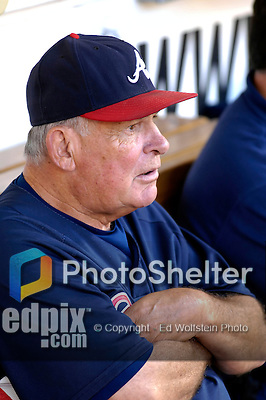 15 September 2007: Atlanta Braves Manager Bobby Cox watches batting practice from the dugout prior to a game against the Washington Nationals at Robert F. Kennedy Memorial Stadium in Washington, DC. The Nationals defeated the Braves 7-4 in the second game of their 3-game series...Mandatory Photo Credit: Ed Wolfstein Photo