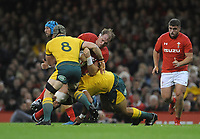 No way through for Wales' Alun Wyn Jones<br /> <br /> Photographer Ian Cook/CameraSport<br /> <br /> Under Armour Series Autumn Internationals - Wales v Australia - Saturday 10th November 2018 - Principality Stadium - Cardiff<br /> <br /> World Copyright © 2018 CameraSport. All rights reserved. 43 Linden Ave. Countesthorpe. Leicester. England. LE8 5PG - Tel: +44 (0) 116 277 4147 - admin@camerasport.com - www.camerasport.com
