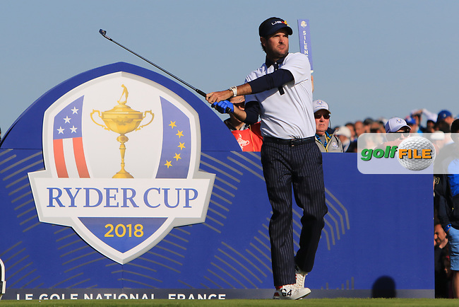 Bubba Watson (Team USA) at the 12th tee during Saturday Foursomes at the Ryder Cup, Le Golf National, Ile-de-France, France. 29/09/2018.<br /> Picture Thos Caffrey / Golffile.ie<br /> <br /> All photo usage must carry mandatory copyright credit (© Golffile | Thos Caffrey)