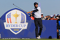 Bubba Watson (Team USA) at the 12th tee during Saturday Foursomes at the Ryder Cup, Le Golf National, Ile-de-France, France. 29/09/2018.<br /> Picture Thos Caffrey / Golffile.ie<br /> <br /> All photo usage must carry mandatory copyright credit (&copy; Golffile | Thos Caffrey)