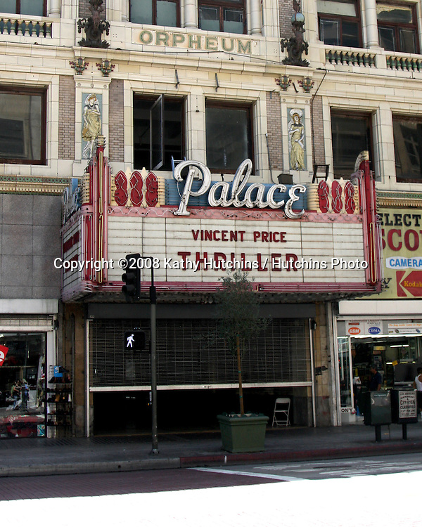 "The Palace Theatre Honors Michael Jackson with the Resurrection of.Original ""Thriller"" Marquee..Historic Broadway corridor in downtown Los Angeles remembers the.'King of Pop'..Los Angeles, CA (July 13, 2009) - The Palace Theatre, at 630 S..Broadway, in Los Angeles' Historic Broadway corridor, honors Michael.Jackson by restoring the original lettering from ""Thriller"" on the.marquee. The façade and marquee of the theatre were used in key.opening scenes of the famous theatrical music video. The marquee now.reads ""Vincent Price, THRILLER"" as it was seen in the video...Shahram Delijani, whose family owns the Palace, as well as the Los.Angeles, State and Tower theatres, recalls that ""In the Thriller.video, the music begins with a panning shot of the Palace marquee..Michael Jackson comes running outside with a glowing smile on his face.to tell his date, 'It's only a movie.' This image is imprinted.on the minds of all Michael Jackson fans. I thought it would be a.special gift for those people to look up at the marquee and to have.the realization that you are standing where Michael Jackson once stood.while filming the greatest video of all time. What a thrill!"".Los Angeles, CA  on July 14, 2009 .©2008 Kathy Hutchins / Hutchins Photo.."