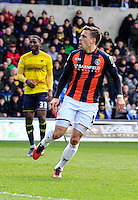 Olly Lee of Luton Town reacts to his scorcher of a goal  during the Sky Bet League 2 match between Oxford United and Luton Town at the Kassam Stadium, Oxford, England on 16 April 2016. Photo by Liam Smith.