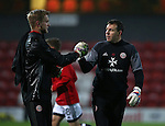 Darren Ward with George Long of Sheffield Utd during the Checkatrade Trophy match at Blundell Park Stadium, Grimsby. Picture date: November 9th, 2016. Pic Simon Bellis/Sportimage