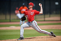 Washington Nationals pitcher Jackson Stoeckinger (50) during a Minor League Spring Training game against the Miami Marlins on March 28, 2018 at FITTEAM Ballpark of the Palm Beaches in West Palm Beach, Florida.  (Mike Janes/Four Seam Images)