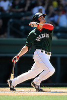 Center fielder Forrestt Allday (15) of the Greenville Drive bats in a game against the Savannah Sand Gnats on Sunday, June 22, 2014, at Fluor Field at the West End in Greenville, South Carolina. Greenville won, 7-3. (Tom Priddy/Four Seam Images)