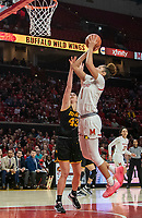 COLLEGE PARK, MD - FEBRUARY 13: Shakira Austin #1 of Maryland shoots over Amanda Ollinger #43 of Iowa during a game between Iowa and Maryland at Xfinity Center on February 13, 2020 in College Park, Maryland.