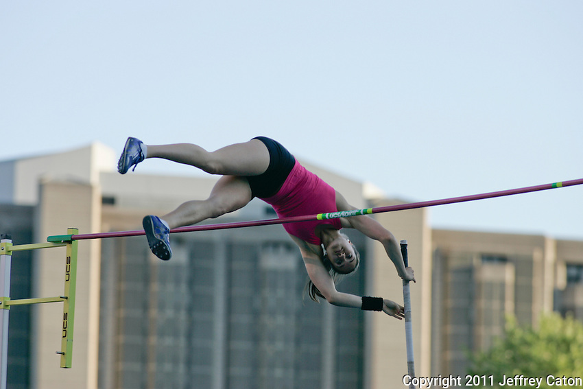 Female Pole Vaulter clearing the bar at the Toronto International Track & Field Games July 13, 2011