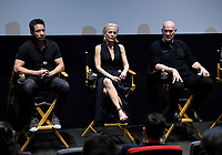 LOS ANGELES - JANUARY 10: Actors David Duchovny, Gillian Anderson, and Mitch Pileggi attend the 20th Century Fox Television 2018 Winter TCA studio day for 'The X-Files' on the Fox Studio Lot on January 10, 2018 in Los Angeles, California. (Photo by Frank Micelotta/Fox/PictureGroup)