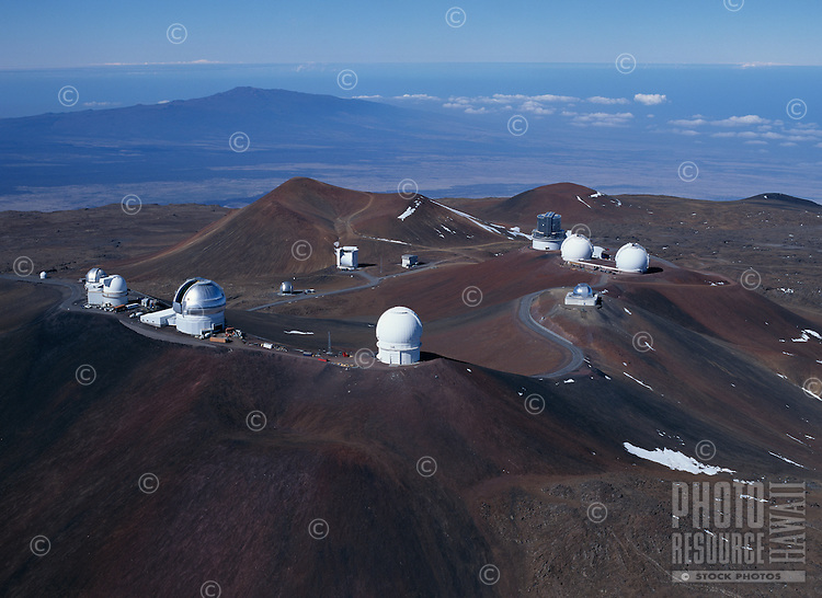 Mauna Kea Observatory viewed from the northeast.  Photo taken from a helicopter..Mauna Kea, Hawaii.