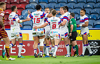 Picture by Allan McKenzie/SWpix.com - 11/05/2018 - Rugby League - Ladbrokes Challenge Cup - Huddersfield Giants v Wakefield Trinity - John Smith's Stadium, Huddersfield, England - Wakefield's celebrarte Mason Caton-Brown's try against Wakefield.