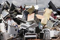 Houasehold appliances in junkyard waiting to be recycled as scrap metal,.Wyoming, USA