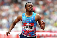 Aries Merritt of USA competes in the menís 110 metres hurdles during the Muller Anniversary Games at The London Stadium on 9th July 2017