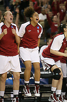 SACRAMENTO, CA - MARCH 29: Mikaela Ruef and Grace Mashore during Stanford's 55-53 win over Xavier in the NCAA Women's Basketball Championship Elite Eight on March 29, 2010 at Arco Arena in Sacramento, California.