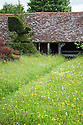 Looking across the Topiary Lawn towards The Hovel, Great Dixter, early June. Wildflowers include Common spotted orchid, (Dactylorhiza fuchsii), Ox-eye Daisy (Leucanthemum vulgare), Meadow buttercup (Ranunculus acris), Yellow rattle (Rhinanthus minor).