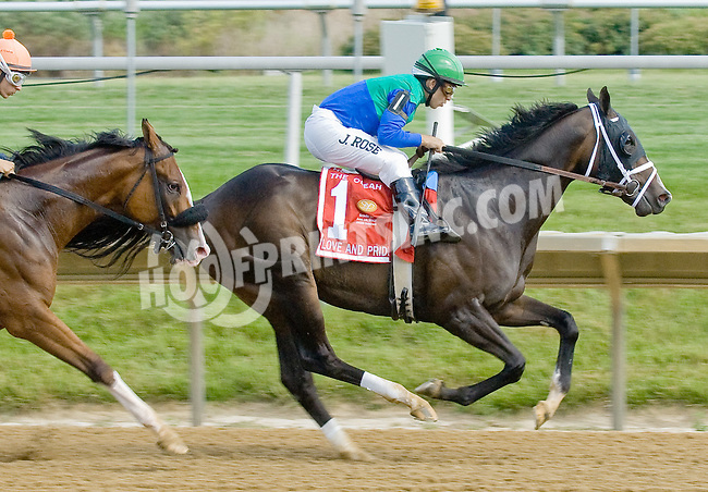 Love and Pride winning The Obeah Stakes (gr3) at Delaware Park on 6/16/12