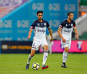25th March 2018, nib Stadium, Perth, Australia; A League football, Perth Glory versus Melbourne Victory; Rhys Williams of Melbourne Victory  passes the ball during the second half as team mate Carl Valeri supports