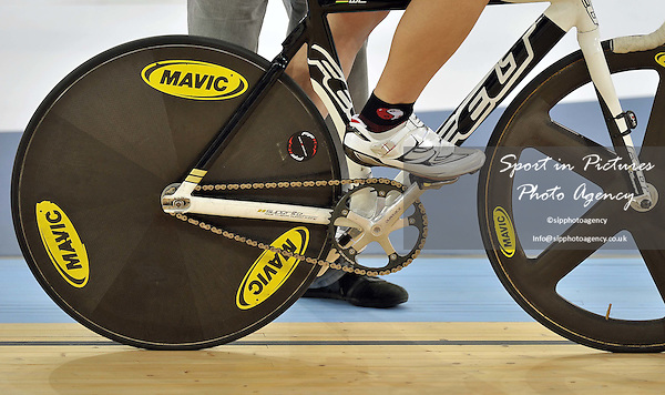 Close up of wheels and gears. Track World Cup. London 2012 Olympic Velodrome. Stratford. London.. 17/02/2012. MANDATORY Credit Garry Bowden/Sportinpictures - NO UNAUTHORISED USE - 07837 394578